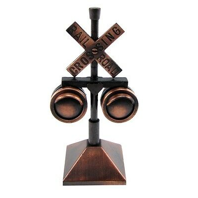 Railroad Crossing Signal Lights Die Cast Pencil Sharpener RR Xing Train Sign Toy
