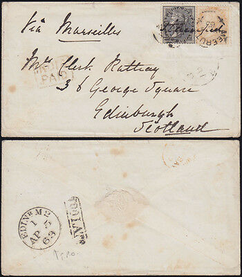 INDIEN 1863 QV duplex MEERUTT 164 box INDIA PAID+ TOO LATE railway TPO Edinburgh