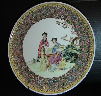 Antique Chinese Republic Period Famille Rose Charger Plate Painted Enamel Signed
