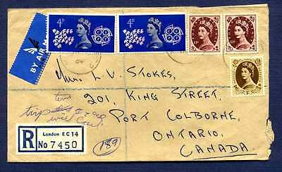 GB-1964 Registered Cover to Pt Colborne,ON from London UK-#383,330,331 stamps
