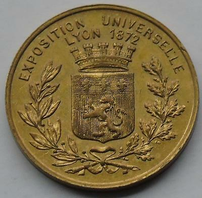 French Medalet / Small Medal / Token Lyon Exposition 1872 Gilt Bronze 23mm
