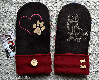 Golden Retriever Dog Embroidered WOOL MITTENS, Handmade, recycled wool sweater