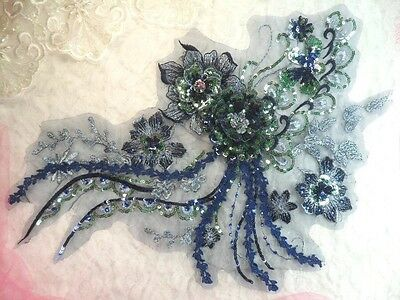 """Embroidered 3D Applique Navy Green Floral Sequin Patch 14"""" (DH75)"""