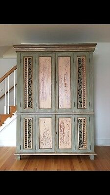 Antique Carved French Provincial Painted Armoire Chalkpaint Anthropologie Style