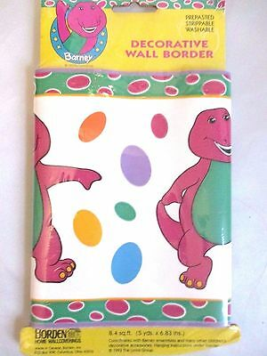 "Vtg Barney Wall Border Wallpaper 1993 5 Yds x 6.83"" Purple Dinosaur Crafts NIP"