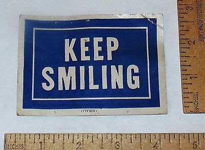 KEEP SMILING - CAMPBELL & CAMPBELL DOCTORS Of CHIROPRACTIC card - vintage