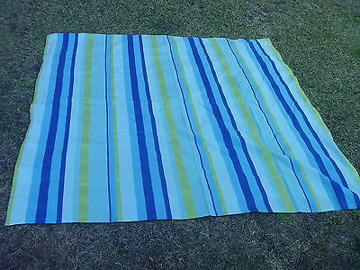 Shades of Color Turquoise Navy Blue Lime Green Stripe Fabric Tablecloth 70x70""
