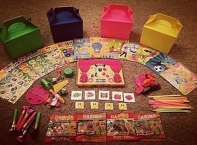 PRE FILLED PARTY BOXES with sweets toy tattoo balloon puzzle CHILDREN BIRTHDAY