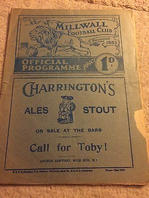 Rare Millwall V Brighton Pre War Football Programme 1938