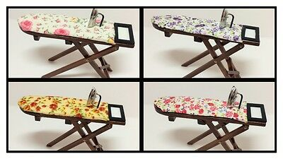 1:12 scale dolls house miniature vintage ironing board with iron 4 to choose .