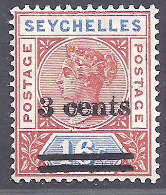 Seychelles Stamps 1901 QV 3c double opt (SG39a) MLH £500 / $620