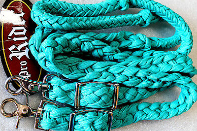 Horse Lot 12 Roping Knotted Tack Western Barrel Reins Nylon Braided 60753Bulk