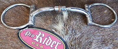 """Horse SS D-Ring Snaffle Bit with Copper Rollers and 5"""" Mouth 35414B"""
