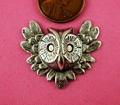 Vintage Design Ant Silver Plated Brass Large Owl's Head - 1 Pc