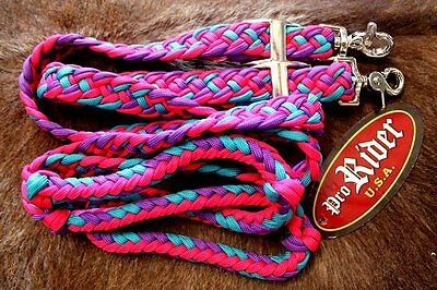 Roping Knotted Western Barrel Reins Nylon Braided Romel Pink 60770