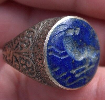 Stunning Very Old Carved Ancient Lapis Stone Animal Intaglio Silver Ring