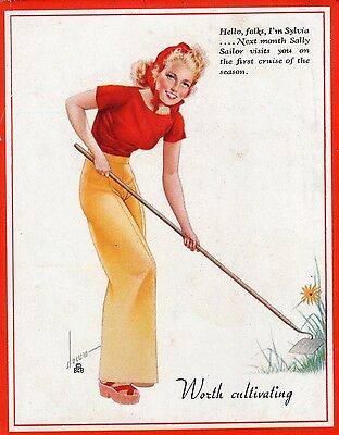 """Vintage Slocum Pin-Up Girl Ink Blotter """"Worth Cultivating"""" 1950s #"""