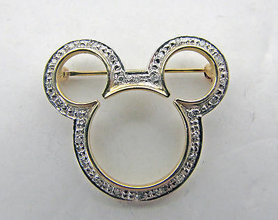 Vintage 14K Yellow White Gold Diamond Disney Mickey Mouse Silhouette Pin Brooch