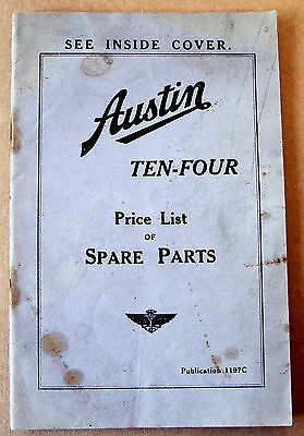 AUSTIN TEN-FOUR Ripley Spare Parts Price List, Pub No 1197C, Dec 1935