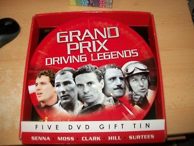 brand new 5 dvds grand prix legends in large gift tin unused free uk postage