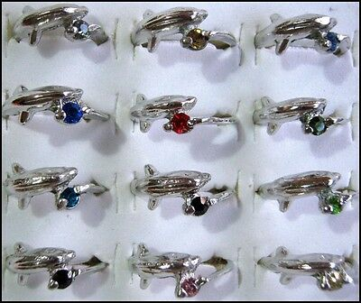Bulk Lot 10 Silver Plated Mixed Rhinestone Dolphin Rings Wholesale FREE POST