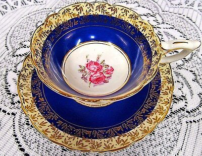 Royal Stafford Tea Cup And Saucer Blue & Gold Pink Roses Painted Wide Teacup
