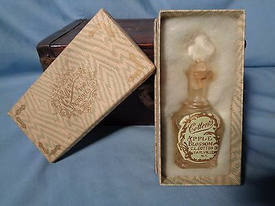 ANTIQUE COTTON'S Apple Blossom GLASS PERFUME Bottle Box CL COTTON EARLVILLE NY