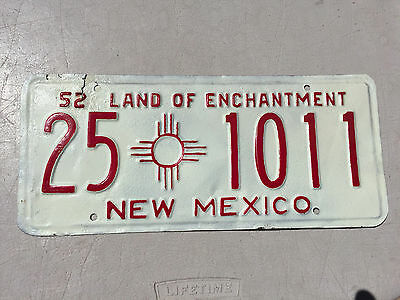 """1952 New Mexico Passenger Auto License Plate  """" 25 1011 """" Nm 52 Repainted"""
