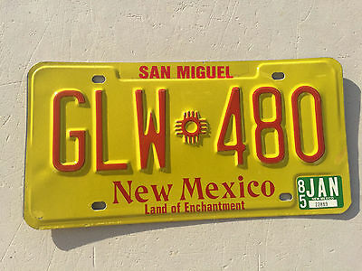 """1985 New Mexico Pass License Plate """" Glw 480 """" Nm 85 Land Enchantment San Miguel"""