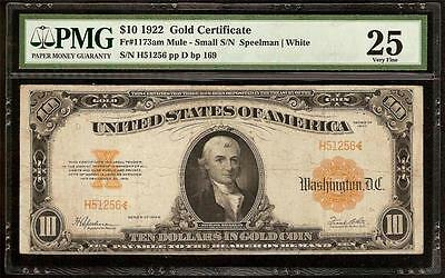 LARGE 1922 $10 SCARCE SMALL NUMBER MULE GOLD CERTIFICATE COIN NOTE F 1173am PMG