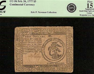 1777 $3 Three Dollars Continental Currency Benjamin Levy Note Paper Money Pcgs