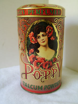 Vintage Daher Poppy Talcum Powder Tin / Container, Made in England