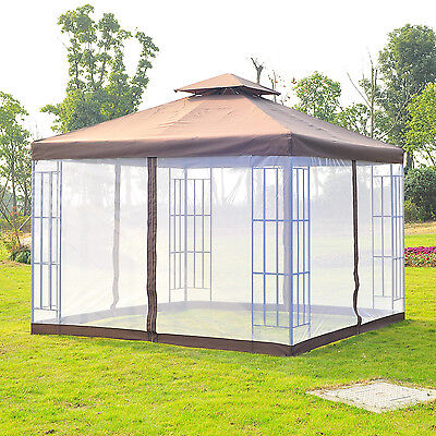 Outsunny 3m Metal Gazebo Canopy Pavilion Event Marquee Party Tent Mosquito Net