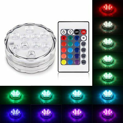 RGB 10 LEDs Light Underwater Party Swimming Pool Spa Bath Light Remote Control