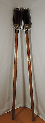 Antique Religious Wood Brass Glass Processional Torch Altar Candle Holder Set.