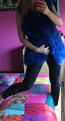 Brand New Women's  Real Fur Ostrich Feather Gilet Waistcoat One Size