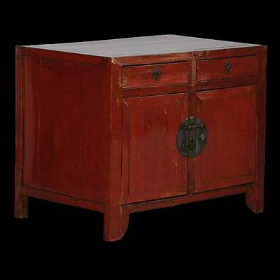 Red Chinese Lacquered Small Antique Sideboard