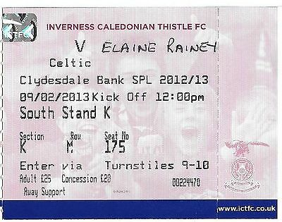 Football Ticket INVERNESS CALEDONIAN THISTLE v CELTIC Feb 2013