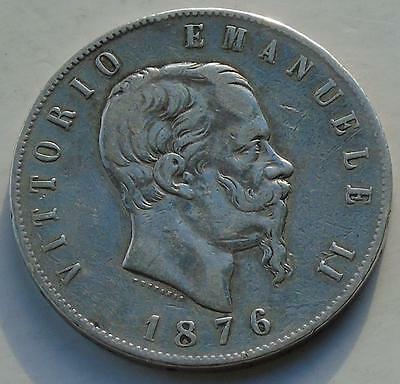 Italy Silver 5 Lire dated 1876-R Vittorio Emanuele II, KM# 8.4 Large Silver Coin