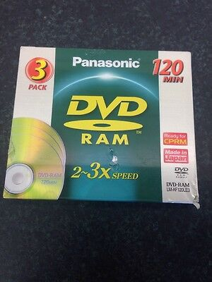 Panasonic 3 Pack DVD-RAM Disc 2-3x speed 120 mins Brand New Sealed LM-AF-120LE3