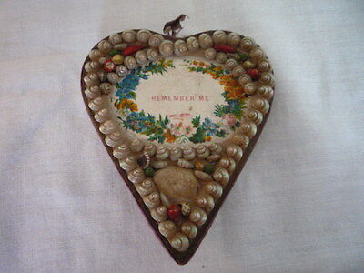 ANTIQUE VICTORIAN SHELL SAILOR VALENTINE REMEMBER ME HEART PIN CUSHION c1890