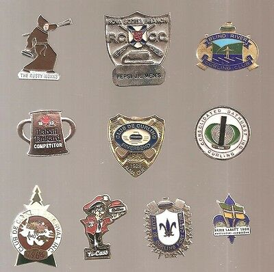 Old Curling Club pins  **Lot of 10**