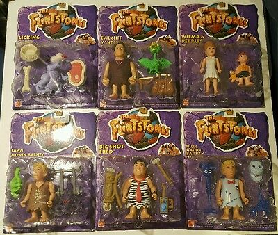 1993 Set of 6 The Flintones action figures Fred,Dino,Pebbles n Barney carded MIP