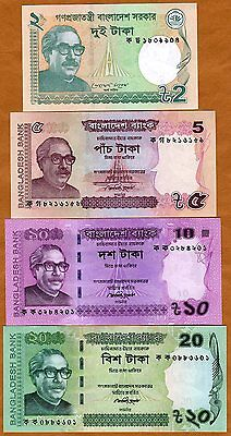 SET Bangladesh, 2, 5, 10, 20 taka, 2011-2013, P-New, UNC