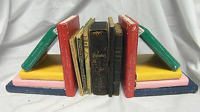 New Wooden Hand Painted Chunky Bookends Shabby Chic Look