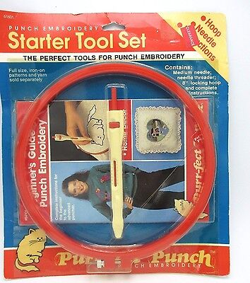 Vtg Punch Embroidery Starter Tool Set Complete Instructions Beginner to Advanced