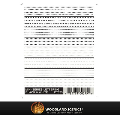 Woodland Scenics DT575 Mini-Series Lettering Black & White - Dry Transfer Decals