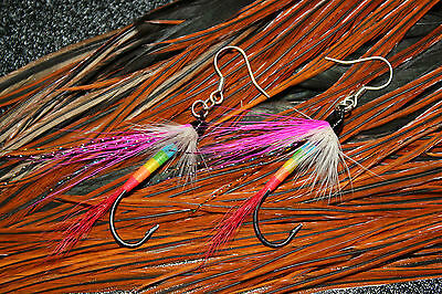 Gift For Her - Bright Rainbow Salmon Fly Earrings