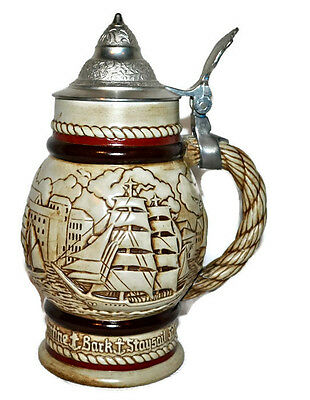 Vintage Antique 1978 Avon  Beer Stein w. Lid Made in Brazil Mug SailBoats EUC