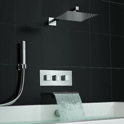 Square Waterfall Bath Filler Kit and Concealed 3 Way Mixer Shower Valve